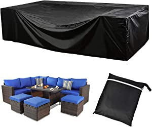 "UXUNBlue Outdoor Patio Furniture Covers 420D Oxford Polyester Black Large Size Sectional Furniture Set Covers Fits to 12Seats Sofa Cover 124"" L Waterproof 