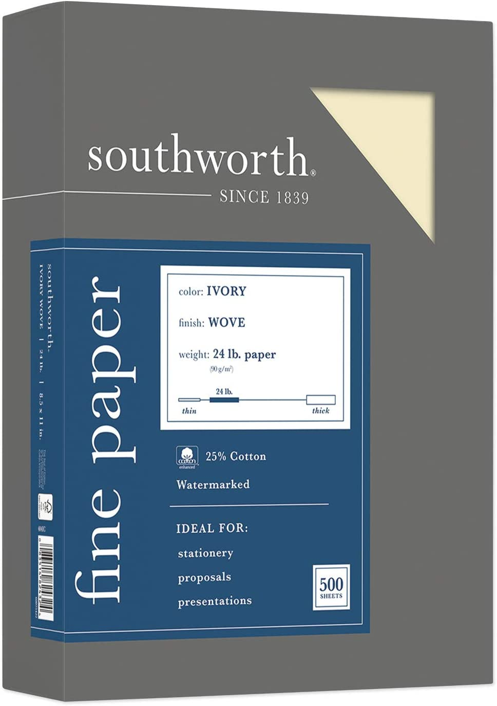 Southworth 404IC 25% Cotton Business Paper Ivory 24 lbs. Wove 8-1/2 x 11 500/Box FSC