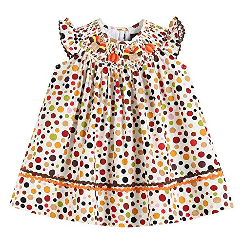 Lil Cactus Colorful Polka Dot Smocked Bishop Dress with Thanksgiving Turkey Embroidery sz 6Y