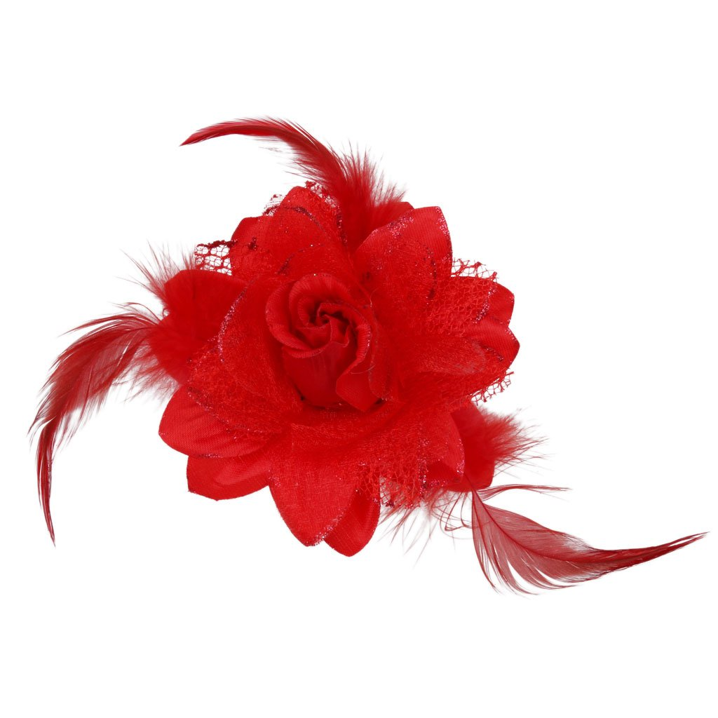 MagiDeal Flower Hairclip Feather Headdress Headpiece Cocktail Party Fascinator 4 Colors - Orange STK0156002504