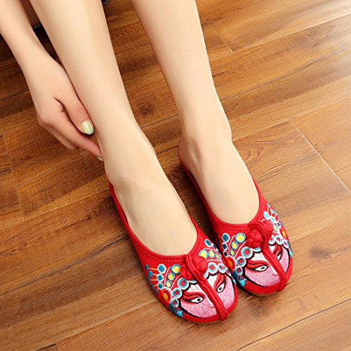 Embroidery Red Shoes Slippers On Traditional YIBLBOX Beijing Women's Loafer Slip Elements Shoes Opera n7nwPZqY