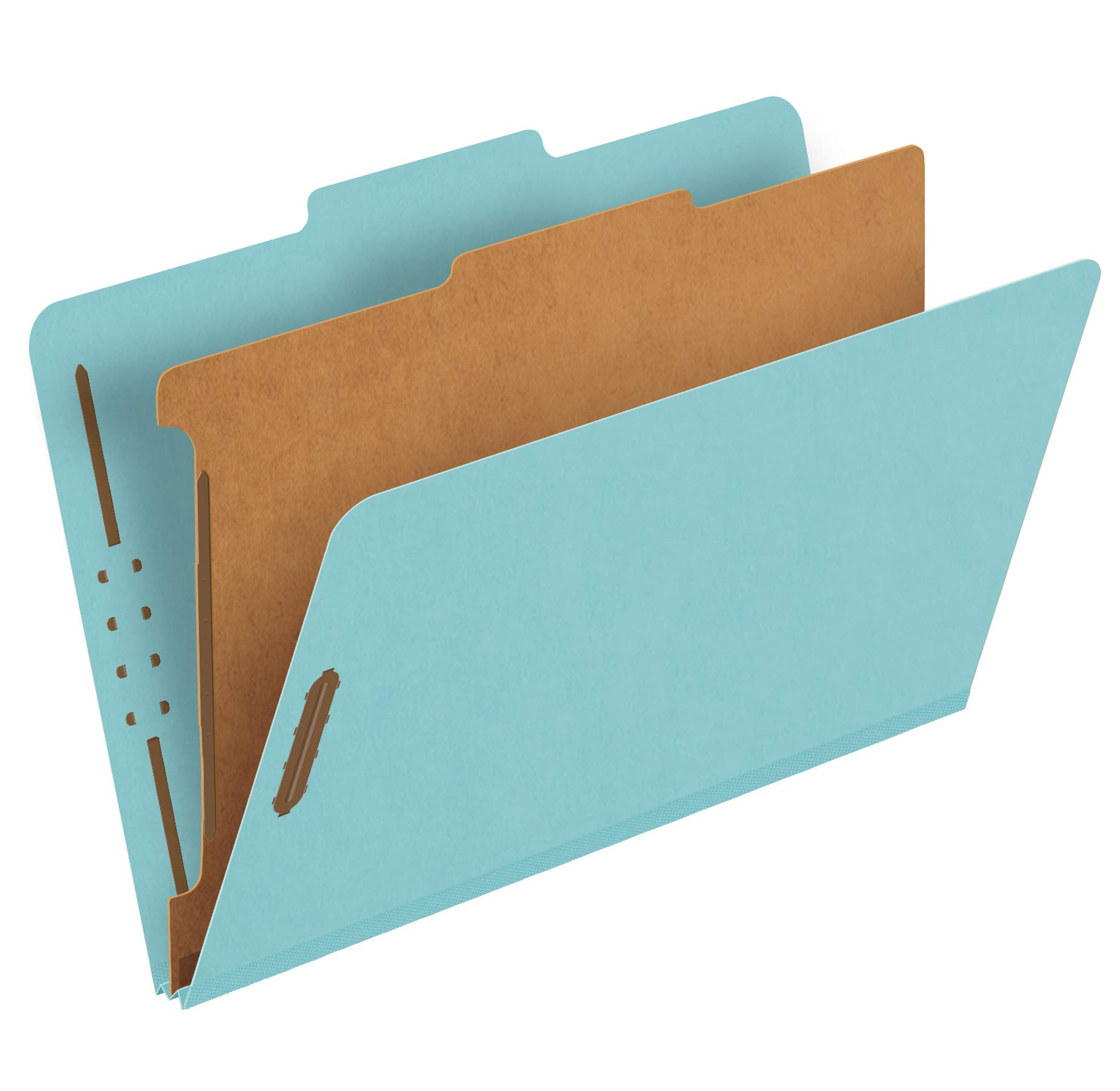 Pendaflex Recycled Classification File Folders, 1 Divider, 2'' Embedded Fasteners, 2/5 Tab Cut, Legal Size, Light Blue, Box of 10 (28777R) by Pendaflex