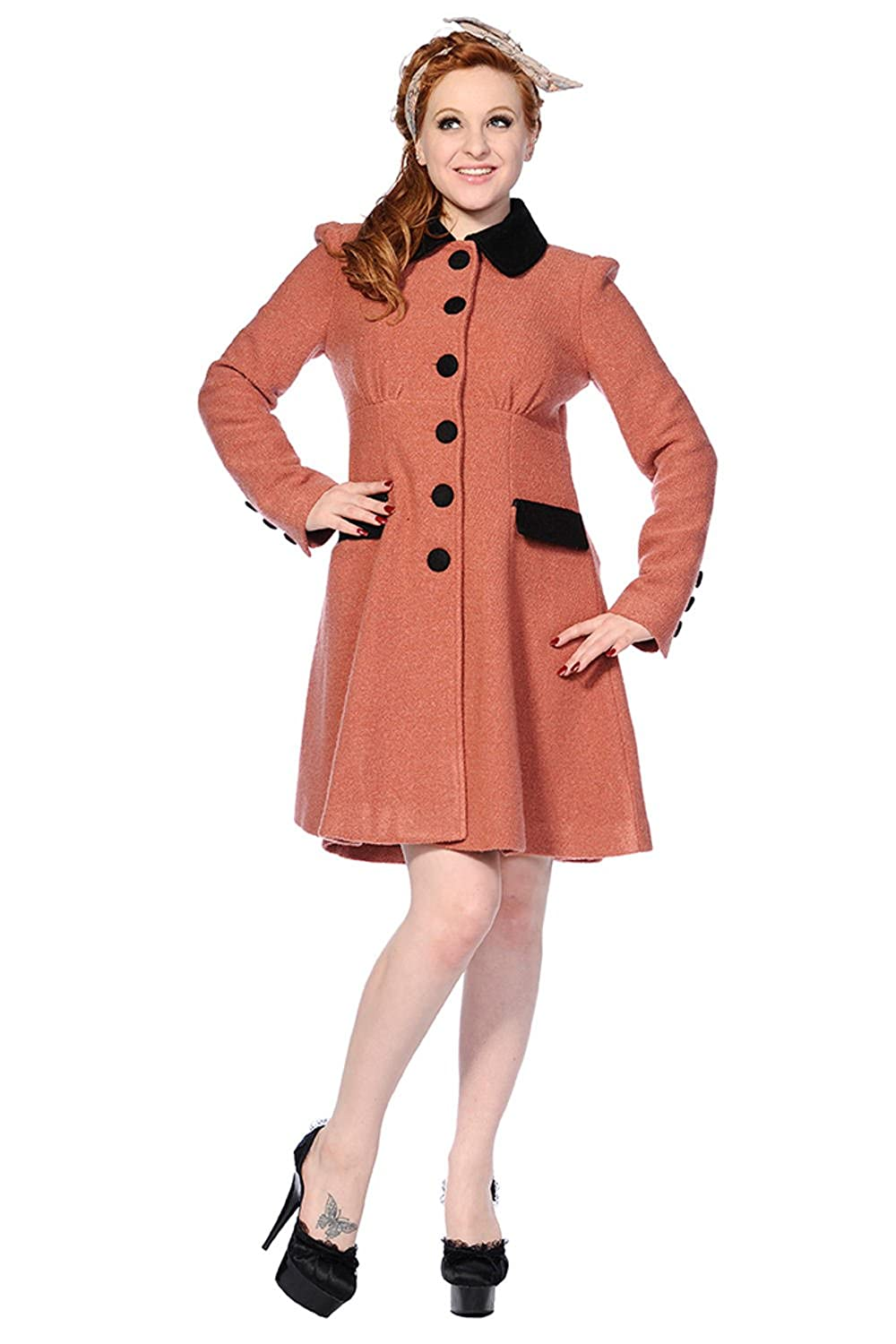 1950s Jackets, Coats, Bolero | Swing, Pin Up, Rockabilly Banned Vintage Coat $113.95 AT vintagedancer.com