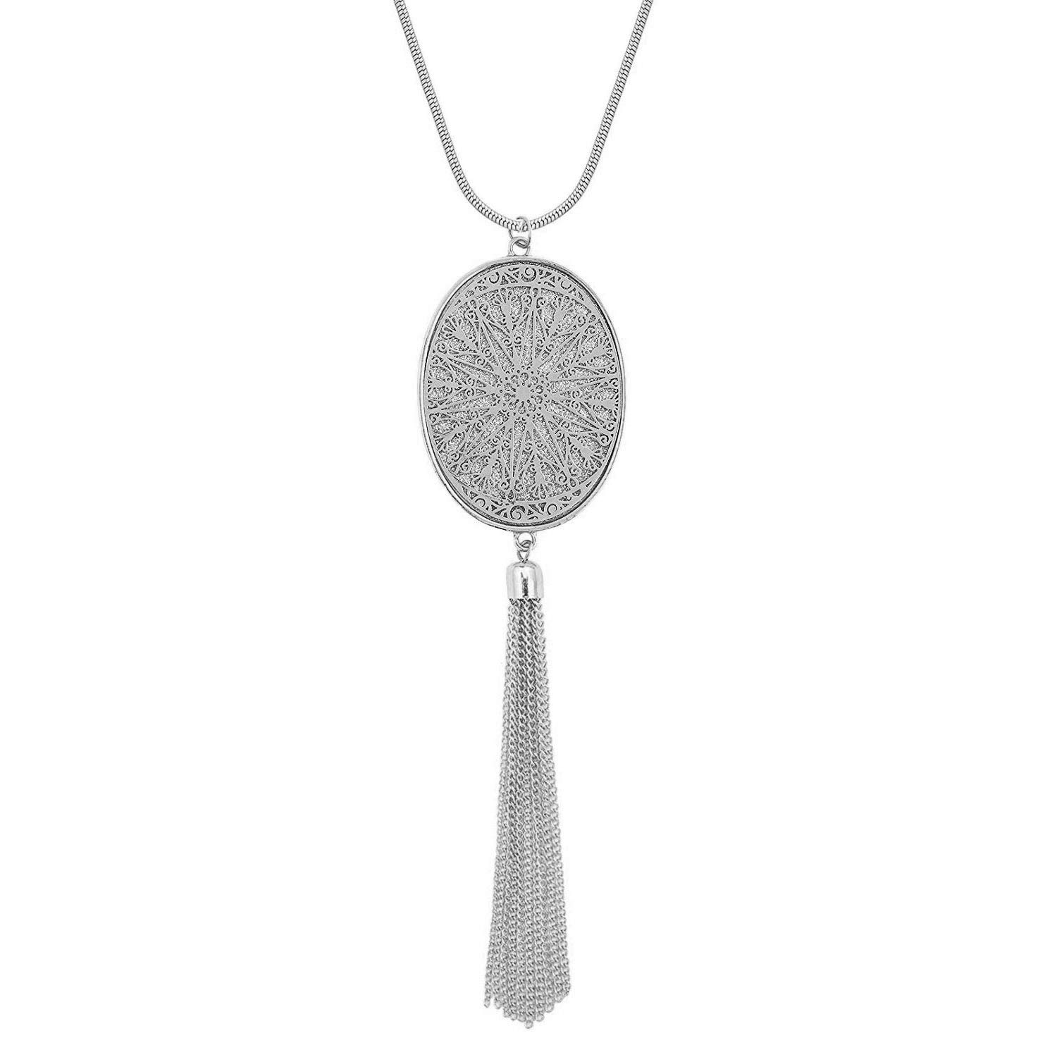 Chaomingzhen Oval Pendant Enhancers Long Tassel Fringe Necklace for Women White Gold Plated by Chaomingzhen