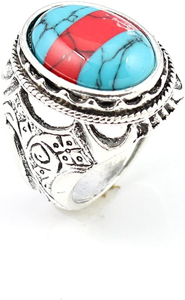 COPPER TURQUOISE FASHION JEWELRY .925 SILVER PLATED RING 10 S22995