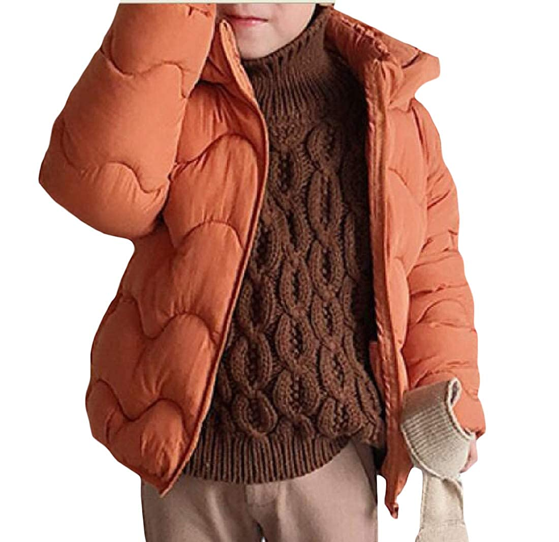 XTX Boy Or Girl Casual Zip-Front Wave Hooded Cotton-Padded Parka Jacket Coat