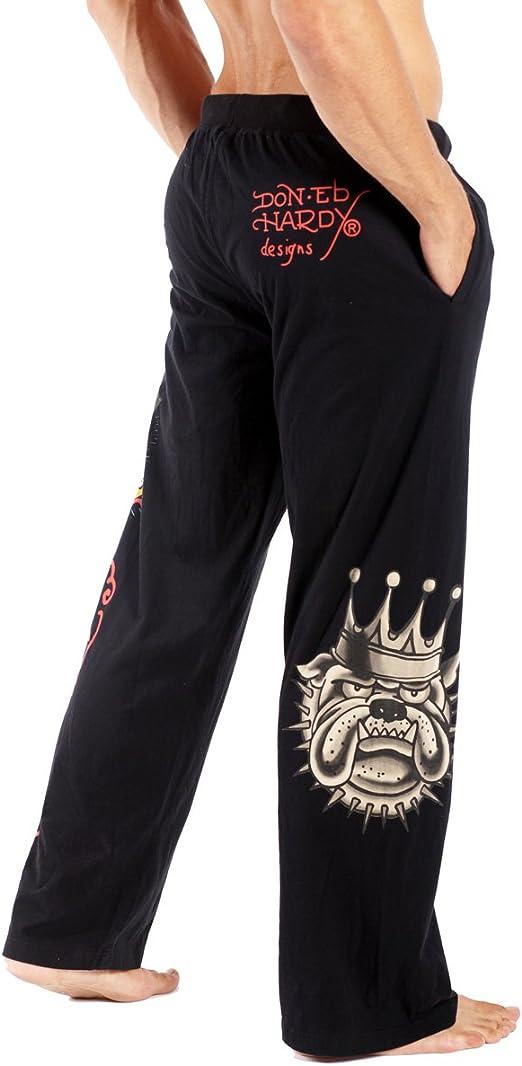 Amazon Com Ed Hardy Pantalones De Bulldog Dormir Para Hombre S Negro Clothing