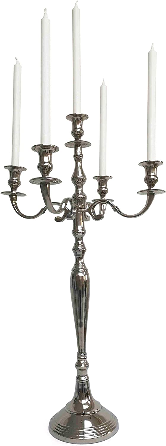 Home Deco London Ltd Antique Silver Candelabra Centerpiece 5 Arm Candlesticks Holder Dining Table Decor Ideal For Wedding Christmas Holiday Formal Dinners Events Candelabra 80cm Amazon Co Uk Kitchen Home