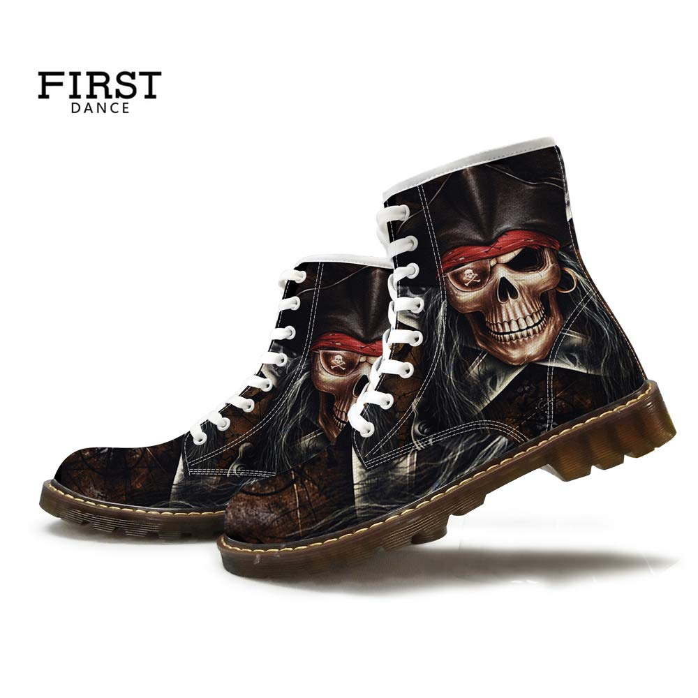 FIRST DANCE Fashion Skull Print Boots for Men Casual High Top Combat Motorcycle Boots for Man Plus Size Shoes Black Outdoor Sneakers