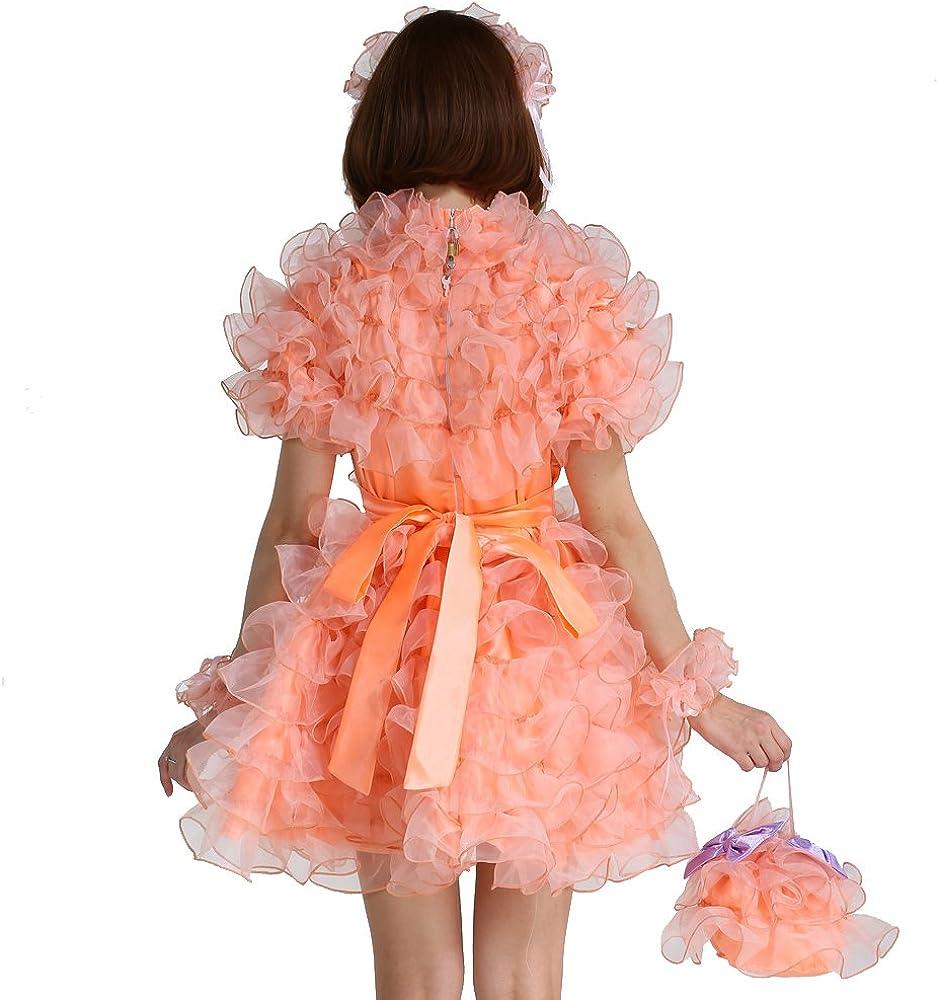 GOceBaby Sissy French Maid Lockable Orange Puffy A Line Dress Uniform Crossdress