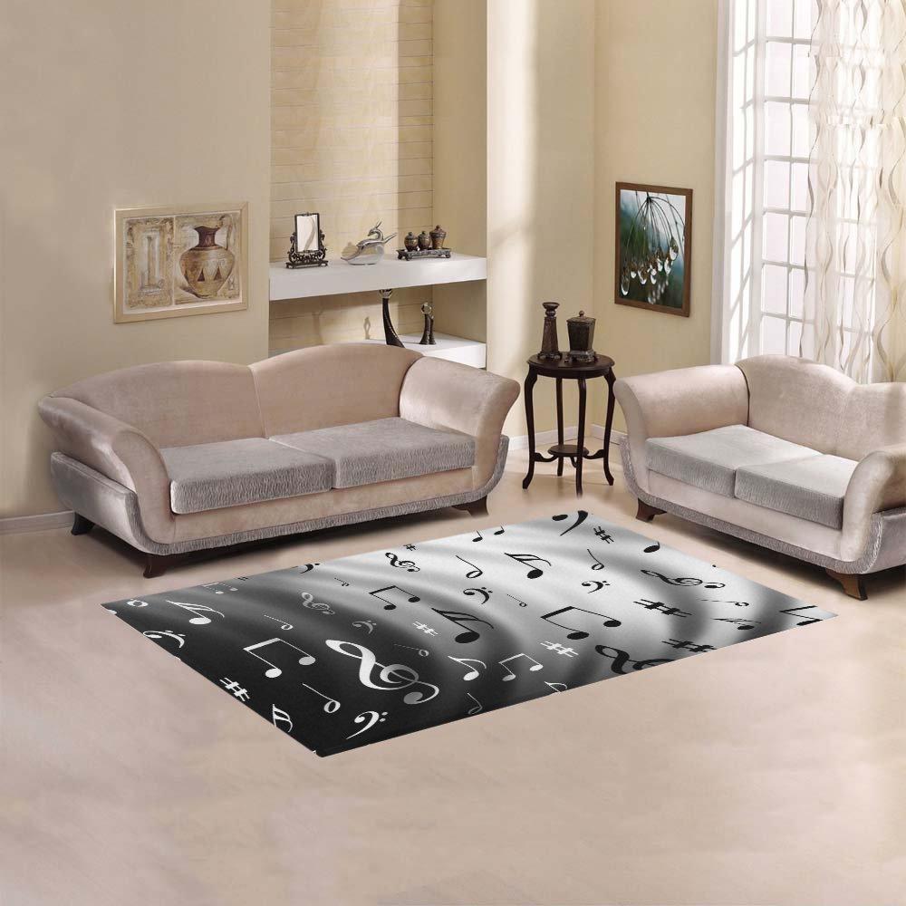 Amazon.com: InterestPrint Black White Music Note Area Rug Cover 5u0027 X 3u00273,  White Gray Piano Modern Carpet Rugs Cover For Home Living Room Bedroom  Decor: Home ...
