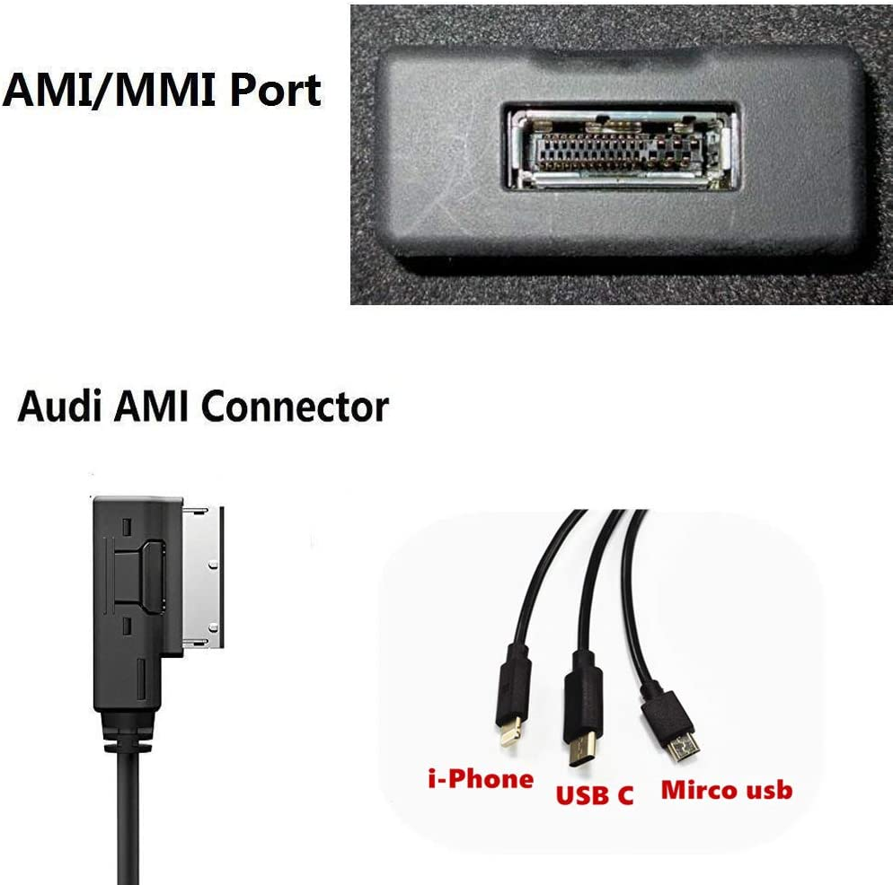 3 in 1 Car Charg ing Adapter for for Selected Audi VW Volkswagen Models for i-Phone i-Pod Galaxy Note Google Pixel Motorola Android Device Hain Compatible with AMI MDI MMI Cable Powerline