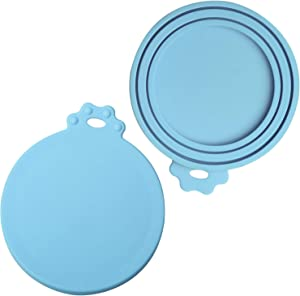 ISKM 2 Pack Can Lids for Cat Dog Food Tin Can Lid Can Cover Pet Food Universal Silicone Plastic 1 Fit 3 Standard Size BPA Free & Dishwasher Cyan