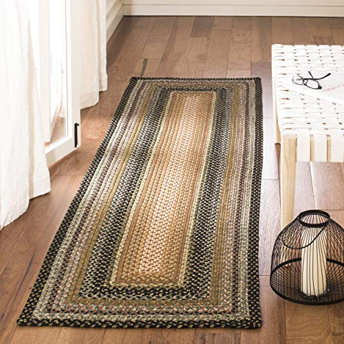 Safavieh Braided Collection BRD308A Hand Woven Blue and Multi Runner (2'3