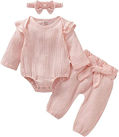 Long Pants 2PCS Outfits Clothes Set Newborn Infant Baby Girl Solid Tops Romper
