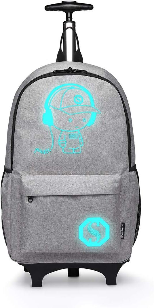 Kono Anime Cartoon Luminous música Boy Backpack Escuela Estudiante Mochila de Moda, Mochila Escolar Unisex Bookbag Maleta De Viaje Trolley Ordenador Mochila (Gris)