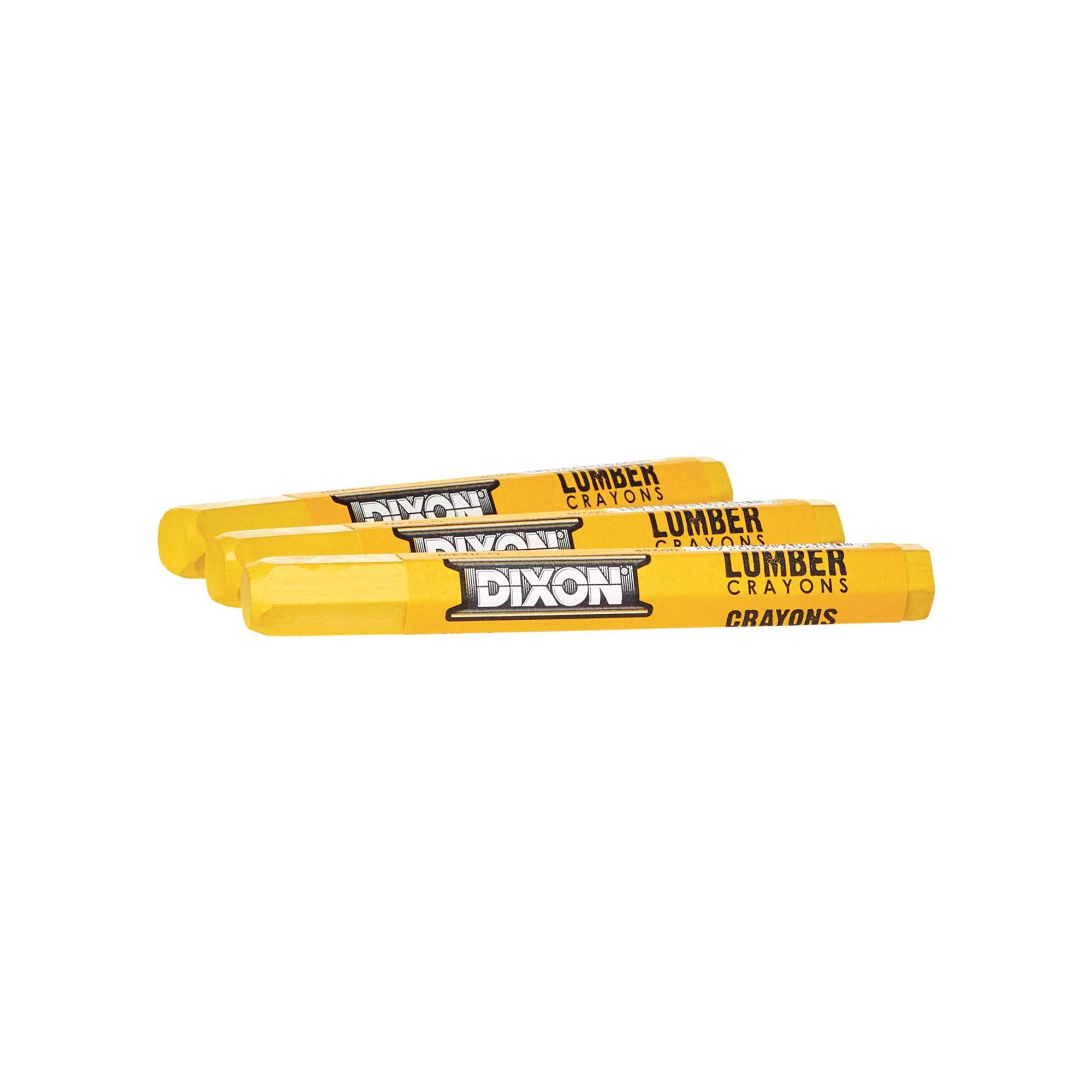 Dixon Industrial Lumber Marking Crayons, 4.5'' x 1/2'' Hex, Yellow, 12-Pack (49600)