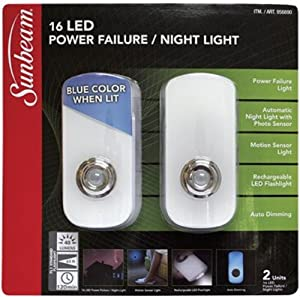 Sunbeam LED Power Failure / 3 in 1 Night Light (Pack of 2). Automatic Lighting in the Dark.