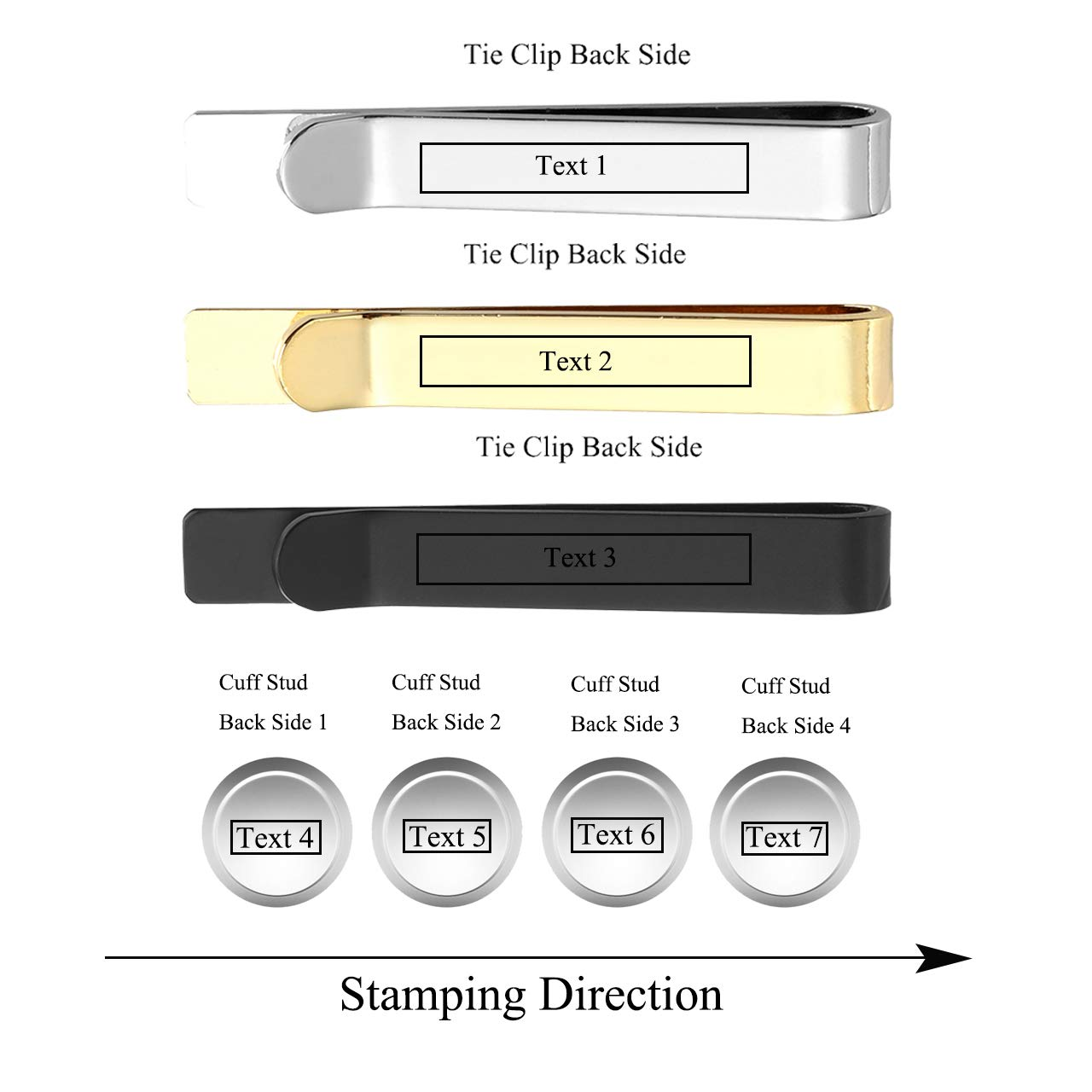 Zysta Gold Silver Black Tie Clips Cuff Links Shirt Studs Set Stainless Steel Free Engraving Name ID Customized Wedding Business Mens Tuxedo Formal Dress Gift