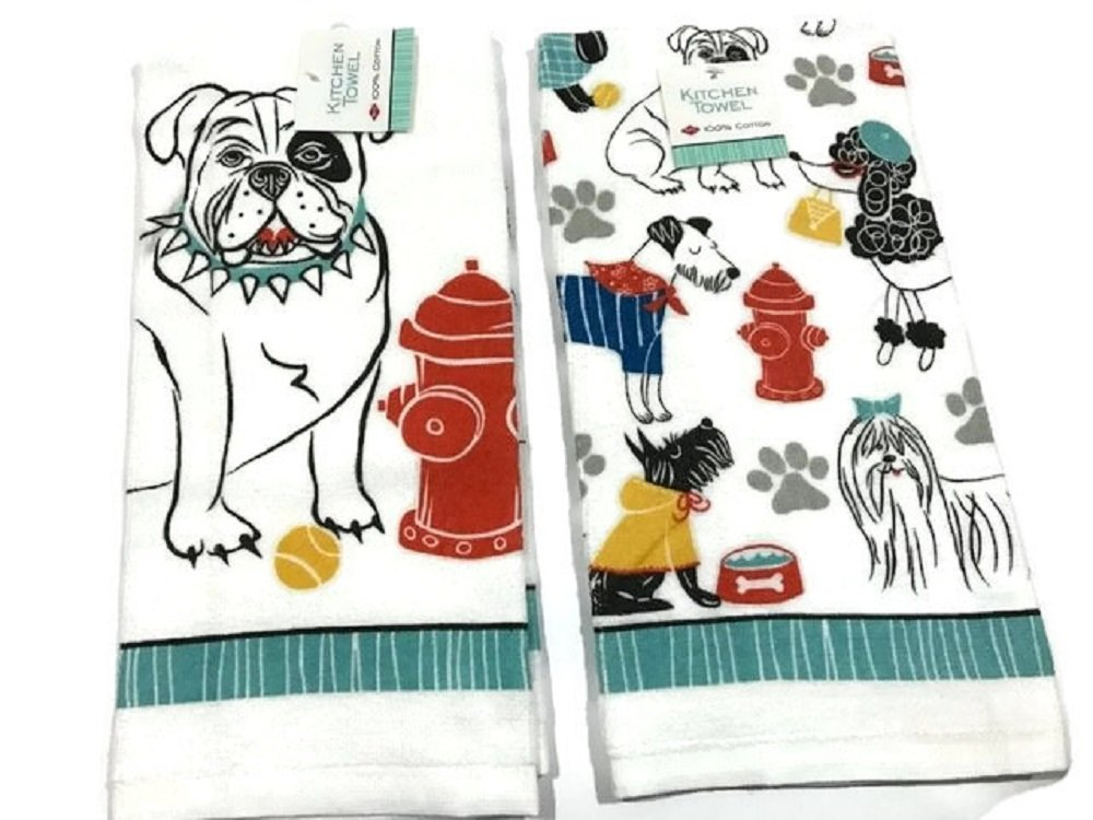 Ritz Dogs All Over Kitchen Dish Towel 2 pk. 100% Cotton