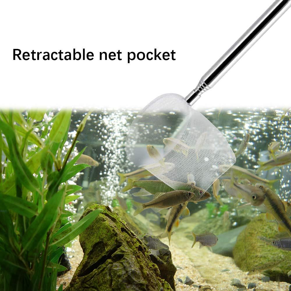 Handle Color Random Bulz Aquarium Net Small Fish Shrimp Net Fine Mesh Adjustable Extendable Stainless Steel Handle Fishing Net