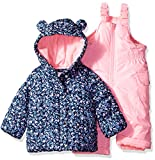 Carter's Baby Girls 2-Piece Snowsuit with Ears, Navy Ditsy/Pink Neon, 18M