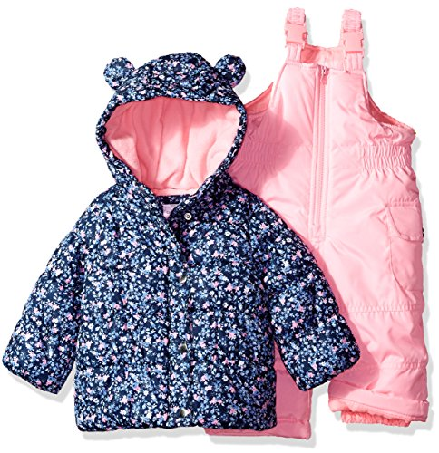 7f91465e178 Galleon - Carter's Baby Girls 2-Piece Snowsuit With Ears, Navy Ditsy/Pink  Neon, 12M