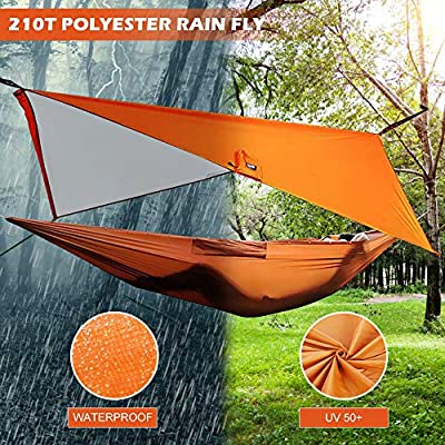 Camping Hammock with Tree Straps,5 in 1 Waterpoof Nylon Parachute Portable Travel Hammock for Indoor Outdoor Backpacking,Beach,Hiking,Garden,Easy Assembly,Can Be Used As Sunshade,Carpet,Raincoat: Kitchen & Dining