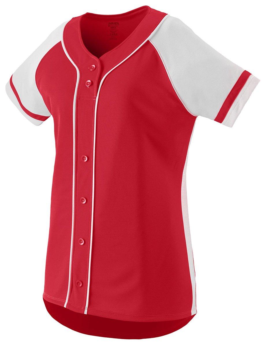 Augusta Sportswear Girls ' Winner Softball Jersey B01C5G6GPE Large|レッド/ホワイト レッド/ホワイト Large