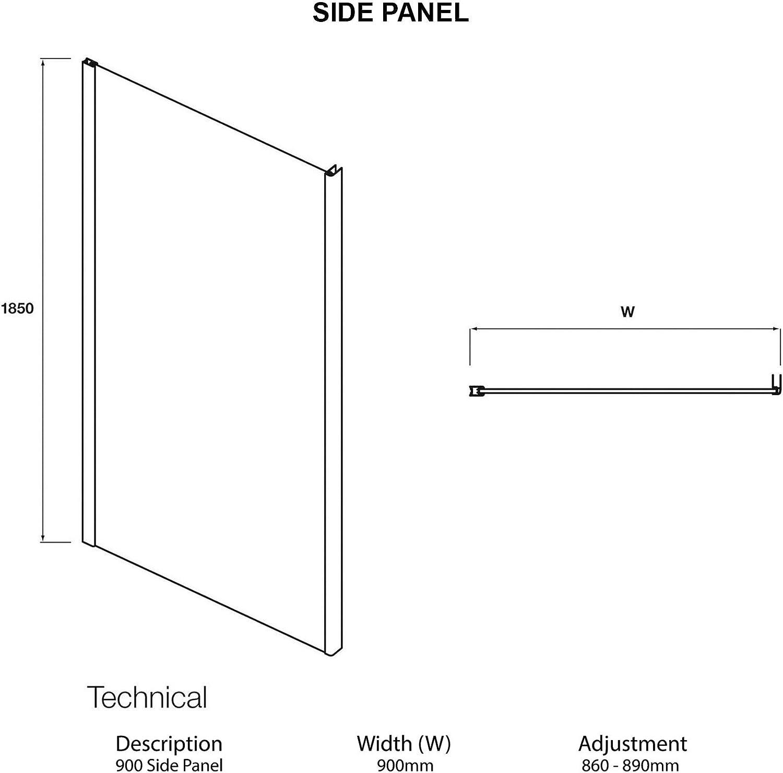 Royal Bathrooms 760 x 760mm Hinged Pivot Walk in Rectangular Shower Enclosure 6mm Glass Reversible Door 760 x 760mm Side Panel