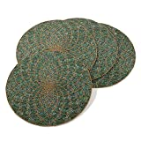Teal Beaded Design Placemat, 15'' Round (4 Piece Set)