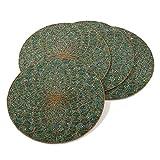 Teal Beaded Design Placemat, 15'' Round (4 Piece Set)