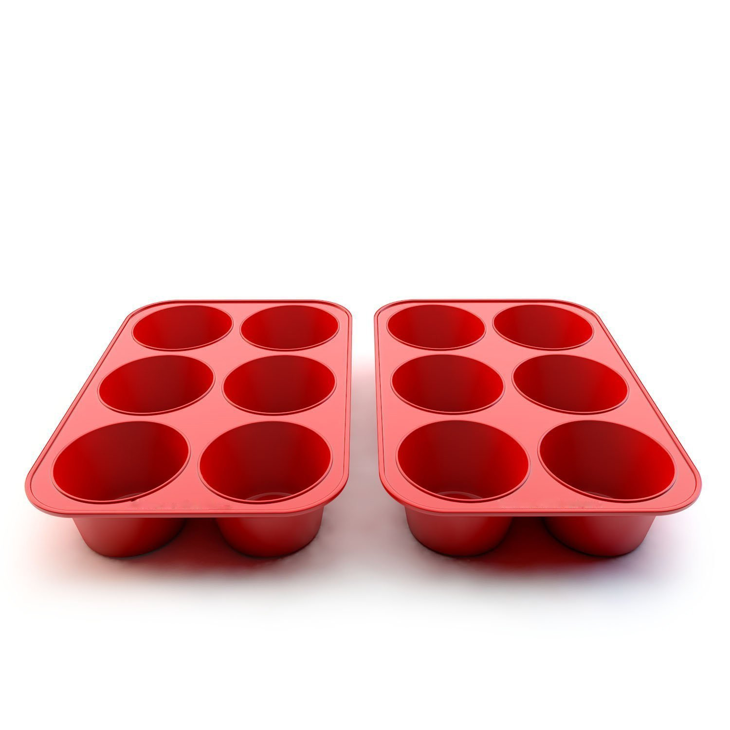 Wolecok Silicone Muffin & Cupcake Baking Pans, Non-Stick, Easy to Clean, Oven/Microwave/Dishwasher/Freezer Safe, Heat Resistant up to 450°F (Red-E)