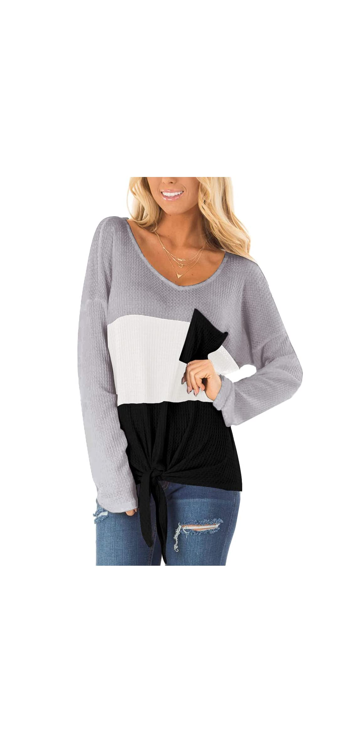 Womens Waffle Knit Tops V-neck Casual T Shirt Tie Knot
