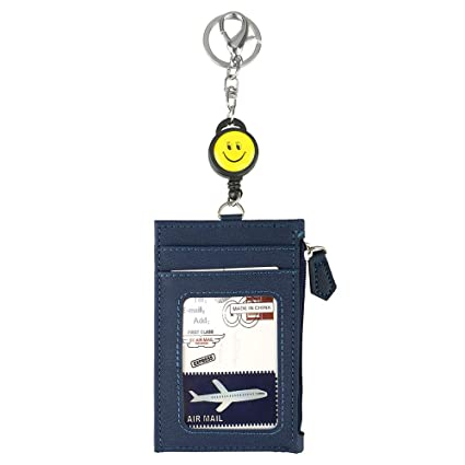 LEUYUAN Soporte de Tarjeta ID, Identificación Funda Portatarjeta, Retractable ID Card Case with 1 ID Window and 3 Card Slots (Azul)