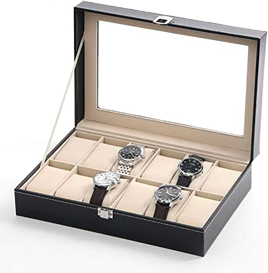 GOVD Caja Relojes 12 Hombre, Color Negro, Caja para Guardar ...