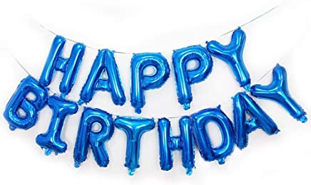 Qivange Happy Birthday Balloons 16 Inch Hanging Alphabet Balloons Foil Banner Bunting Balloon for Party Decoration, Blue