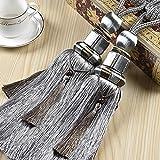 KISENG Tassel Tiebacks, 1 Pair Window Curtain Tieback Tassel Curtain Cord Curtain Tiebacks Rope for Home Decor(Grey)