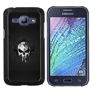 KLONGSHOP // Cubierta de piel con cierre a presión Shell trasero duro de goma Protección Caso - Cráneo tribal - Samsung Galaxy J1 J100 //