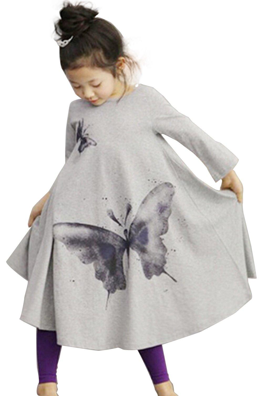 FTSUCQ Little Girl Butterfly Pattern Long Dress (100CM, Gray)