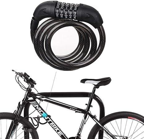 Cadena Antirrobo Bicicleta,Candado de Combinación de Bicicleta de Motocicletas Cerradura de la Bobina Candado de Cable Cadena en Espiral Plegable Bloqueo de Contraseña para Bicicleta La Aire Libre: Amazon.es: Deportes y aire