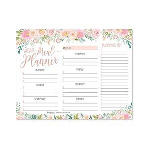 Pink Floral Weekly Meal Planning Calendar Grocery Shopping List Magnet Pad for Fridge, Magnetic Family Pantry Food Menu Board Organizer, Week Diet Prep Planner Tool, Refrigerator Eat Dinner Notepad