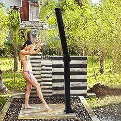 7 FT 6.6 Gallon Solar Heated Outdoor Shower Hot/Cold w/ Base Sprinkler Poolside