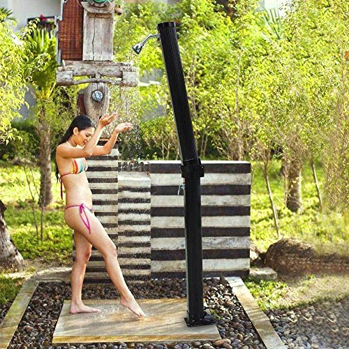7 FT 6.6 Gallon Solar Heated Outdoor Shower Hot/Cold w/ Base Sprinkler Poolside