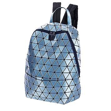 Mochila de Moda geométrica Lingge Brillante Redondo Luminoso triángulo Mochila Bolsa de la Mujer de Gran Capacidad College Bag, Azul: Amazon.es: Hogar
