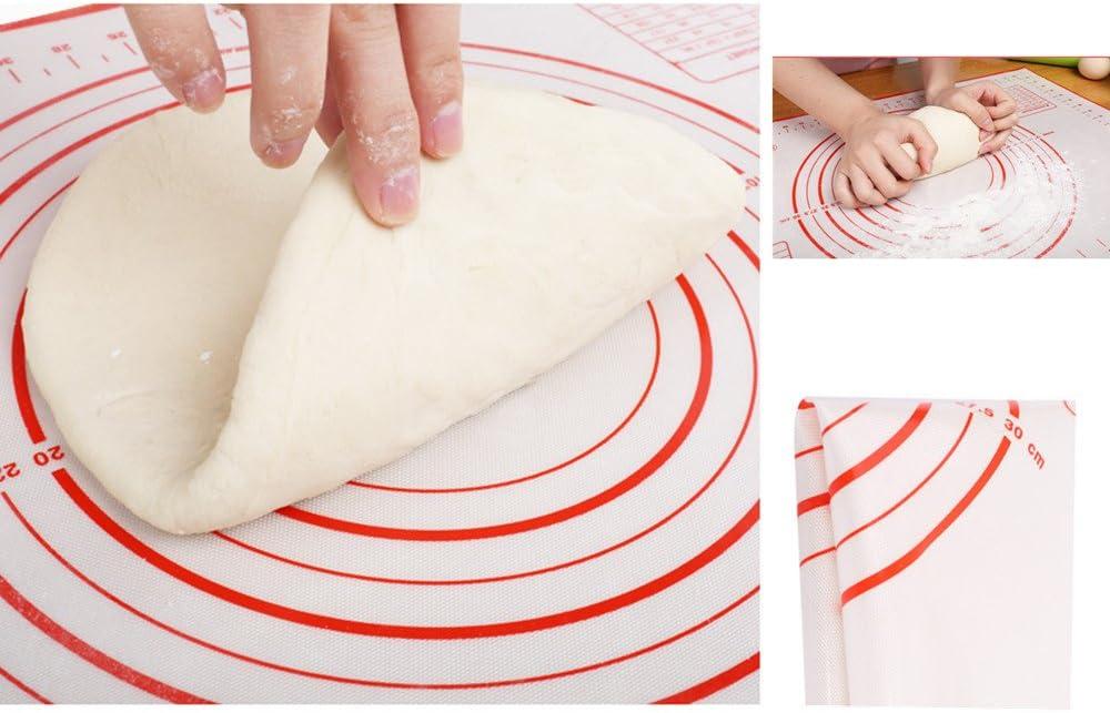 pizza lasa/ña antideslizante pan Estera para hornear de silicona extra grande con juego de rodillos de madera para hojaldre de KeepingcooX antiadherente esterilla con medidas 60 /× 50 cm