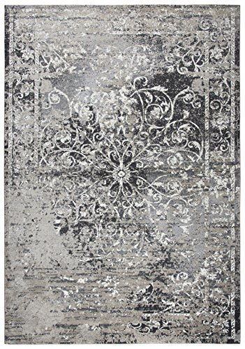 Rizzy Home Panache Collection Polypropylene Taupe/Gray/Ivory/Black/Beige Central Medallion Scroll Work Distress Area Rug 9'10