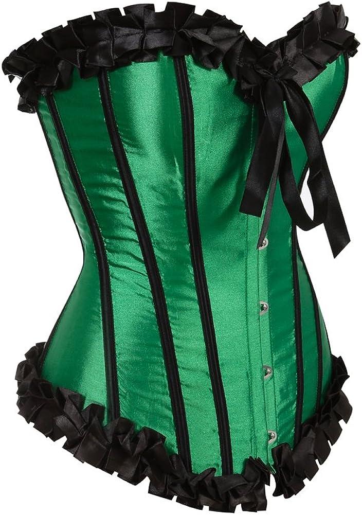Grebrafan Pleated Trim Medieval Corset Bustier Burlesque
