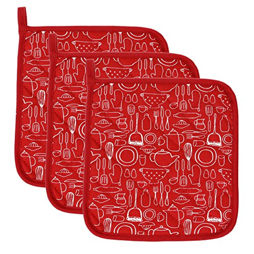 100% Cotton Kitchen Everyday Basic Terry Pot Holder Heat Resistant Coaster Potholder For Cooking And Baking 8 x 8-Inch Set Of 3 Red