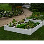 """Vita Gardens VT17104 Vita Bed with GRO 48in x 7.5in Garden with Grid, 7.38"""" H, White 4 Available in classic white Can combine more than one unit Grid system increases yield because plants can be planted closer together"""